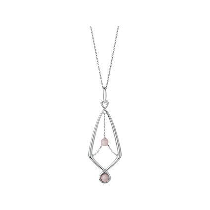 Serpentine Sterling Silver & Pink Opal Gemstone Pendant Necklace, , hires