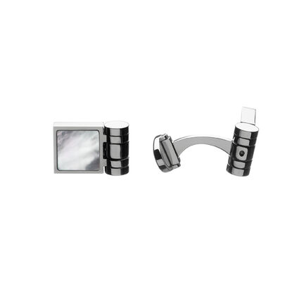 Duo White and Black T-Bar Cufflink, , hires