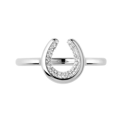 Diamond Essentials Sterling Silver Horseshoe Rings, , hires