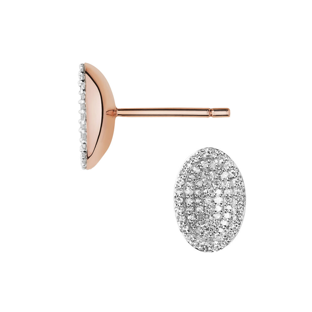 Concave 18kt Rose Gold Vermeil & Diamond Stud Earrings, , hires