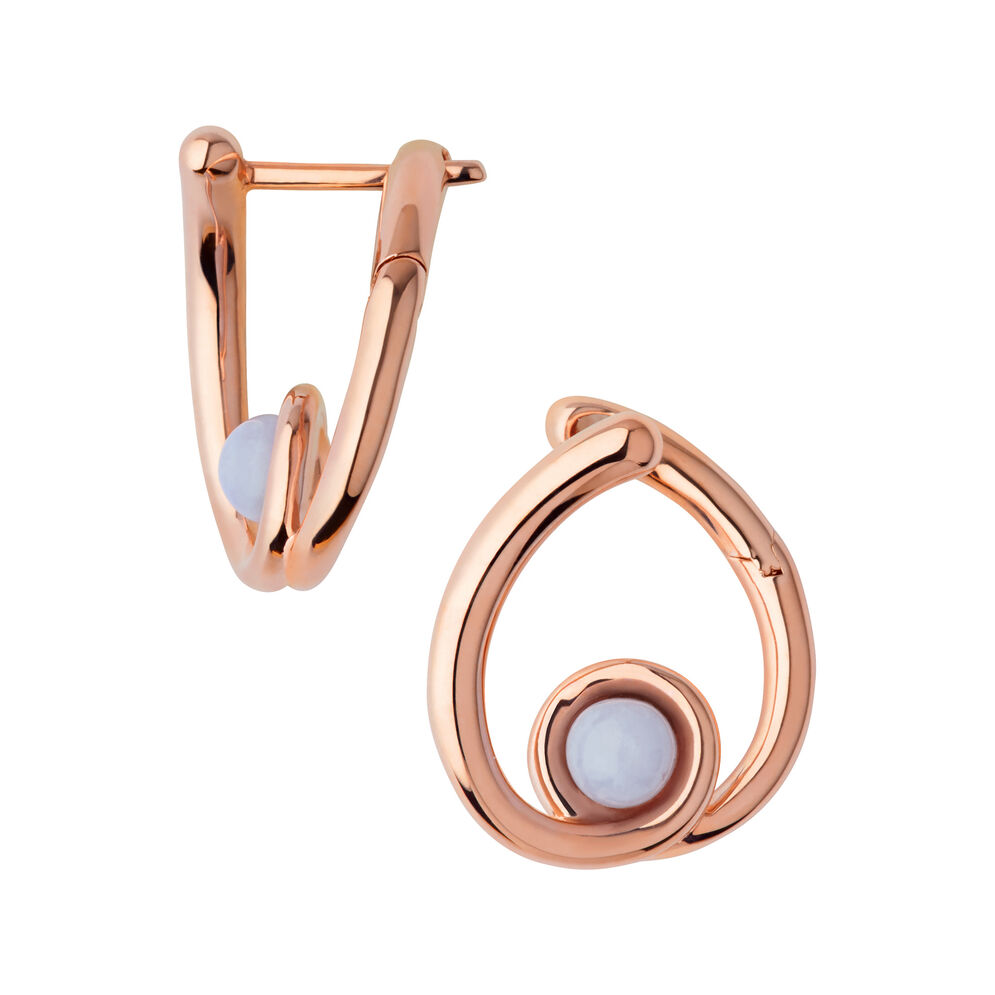 Serpentine 18kt Rose Gold Vermeil & Blue Lace Agate Gemstone Hoop Earrings, , hires