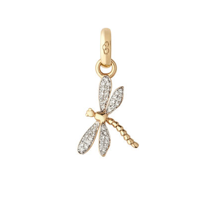 18kt Yellow Gold & Diamond Dragonfly Charm, , hires