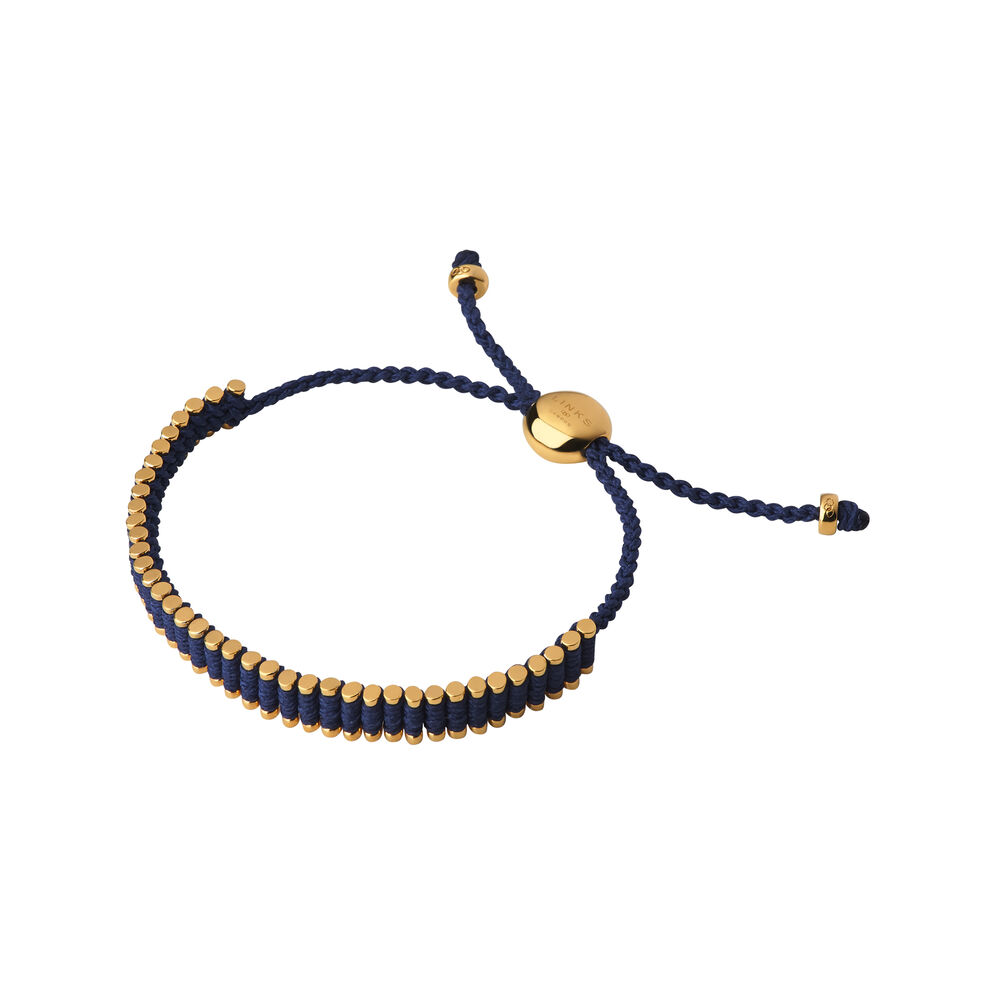 18kt Yellow Gold Vermeil & Navy Mini Friendship Bracelet, , hires