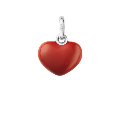 Sterling Silver Red Heart Charm, , hires