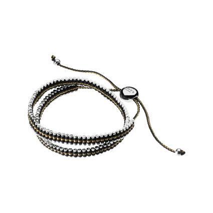 Sterling Silver, Gold & Black Cord Double Friendship Bracelet, , hires