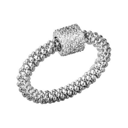 Star Dust Silver Bead Ring, , hires