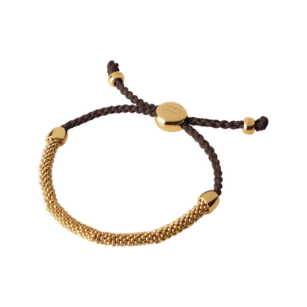Effervescence XS 18kt Yellow Gold Vermeil & Brown Cord Bracelet, , hires