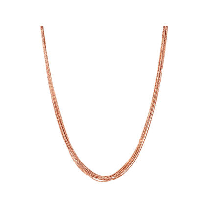 Essentials 18kt Rose Gold Vermeil Silk 10 Row Necklace 45cm, , hires