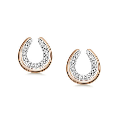 Diamond Essentials 18K Rose Gold Vermeil Horseshoe Earrings, , hires