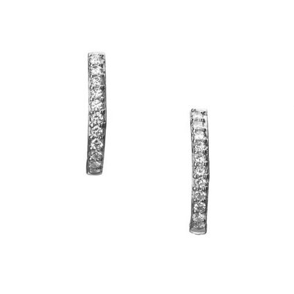 Watch Over Me Hoop 18ct White Gold Earrings, , hires