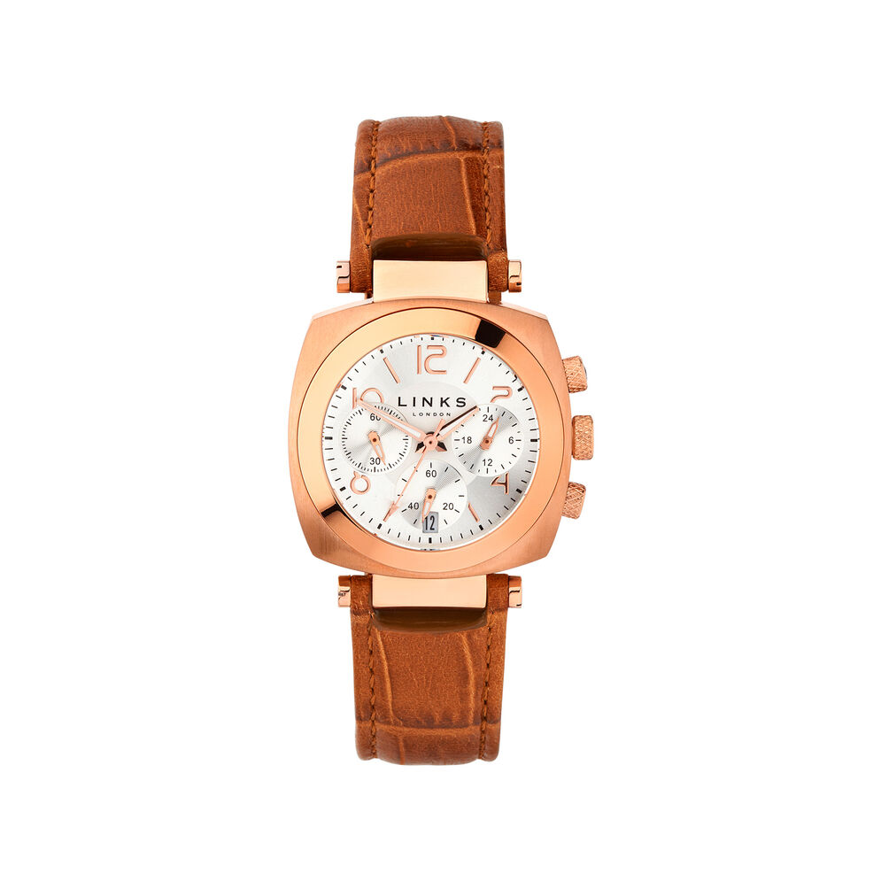Brompton Womens Rose Gold Plate & Tan Leather Chronograph Watch, , hires