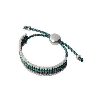 Green & Grey Metallic Friendship Bracelet, , hires