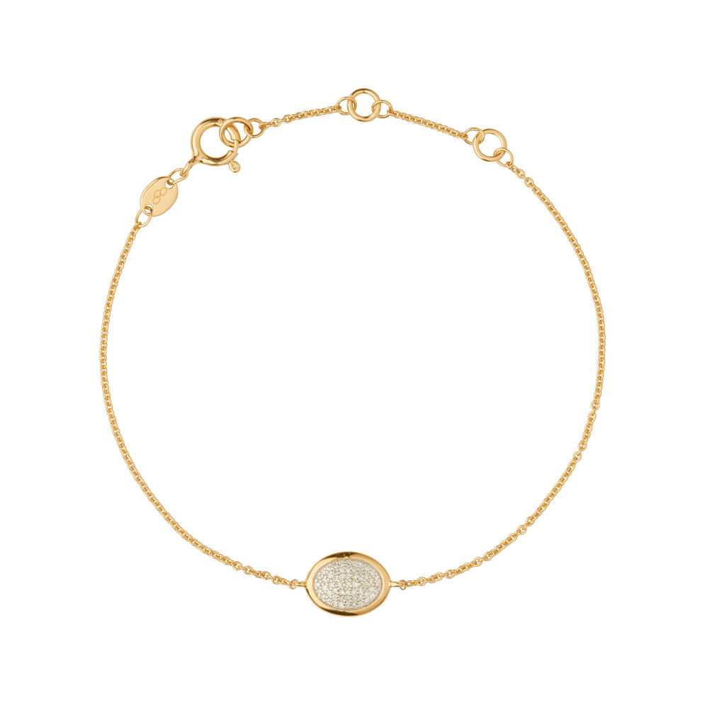 Diamond Essentials 18kt Yellow Gold Vermeil & Pave Oval Bracelet, , hires