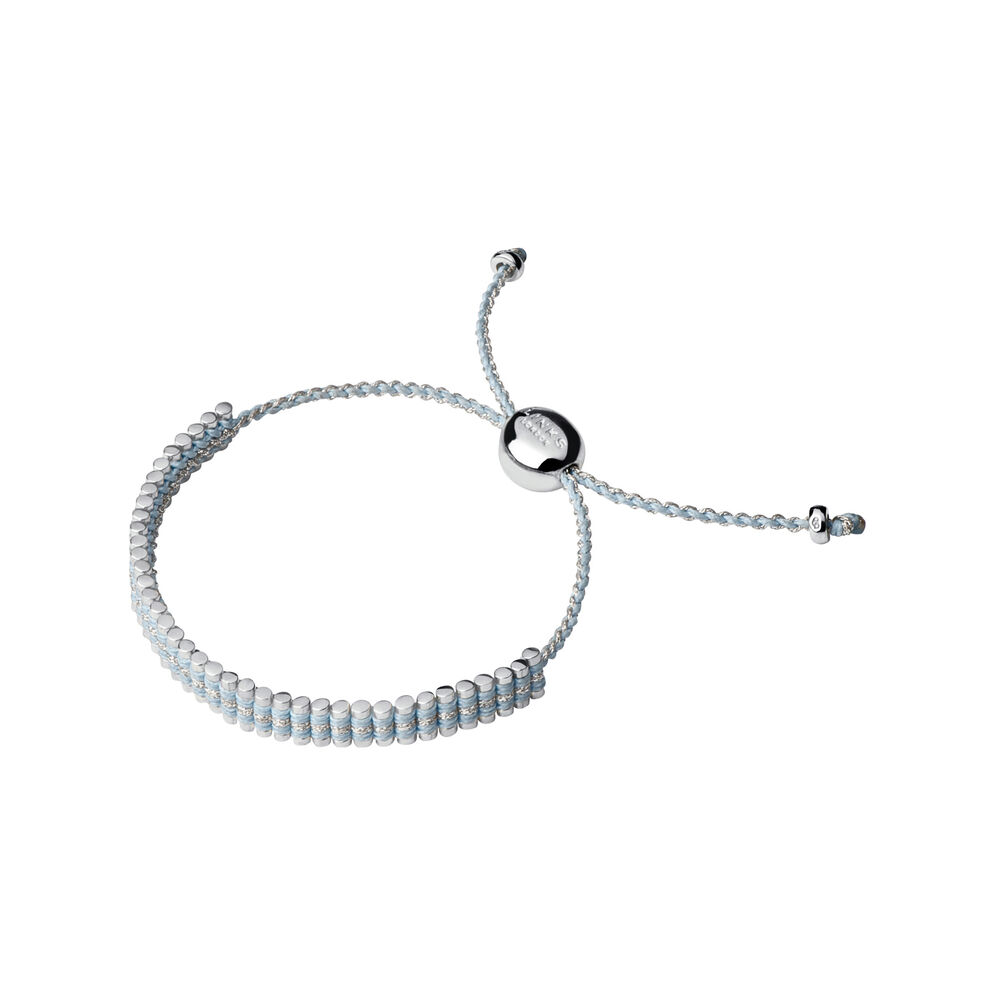 Sterling Silver & Pale Blue Pewter Cord Mini Friendship Bracelet, , hires