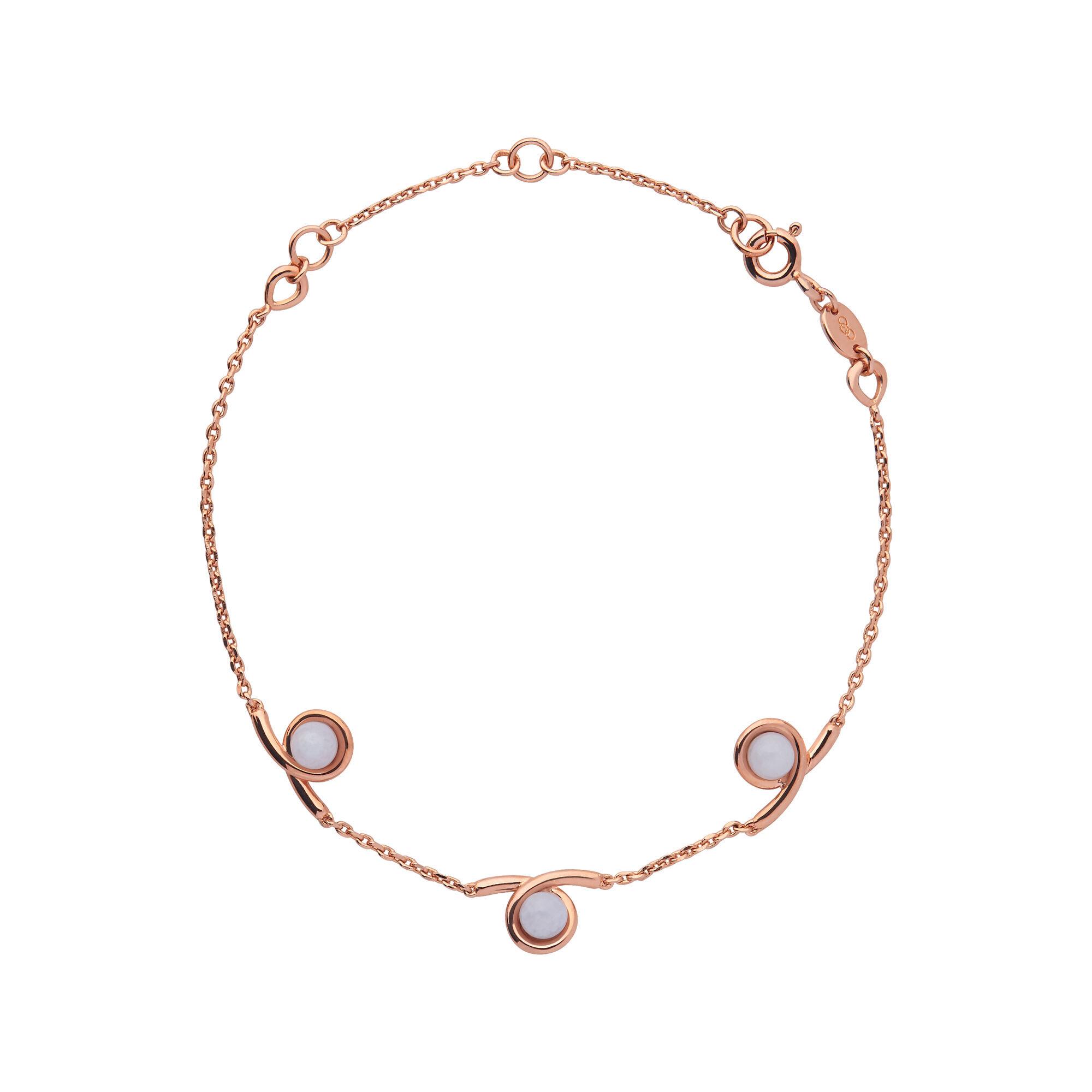 Serpentine 18kt Rose Gold Vermeil Blue Lace Agate Gemstone Bracelet Hires