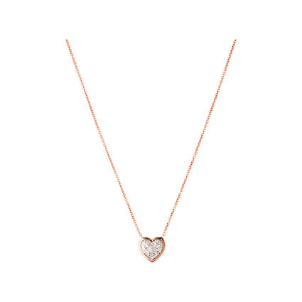 Diamond Essentials 18kt Rose Gold Vermeil & Pave Heart Necklace, , hires