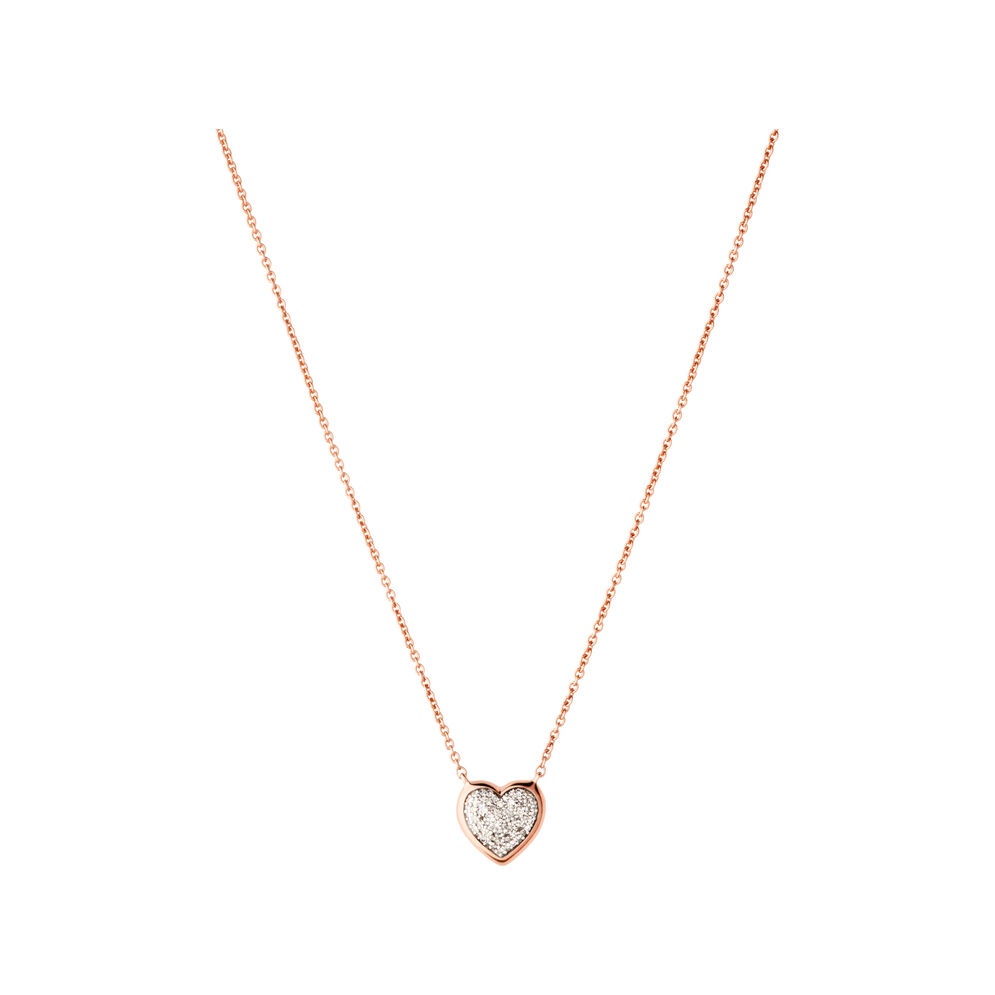 Diamond Essentials 18kt Rose Gold Vermeil & Pave Heart Necklace, , hires