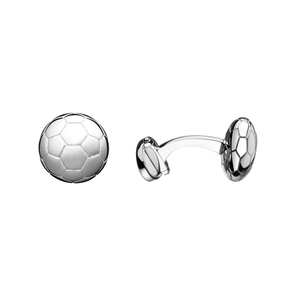 Sterling Silver Football Cufflinks, , hires