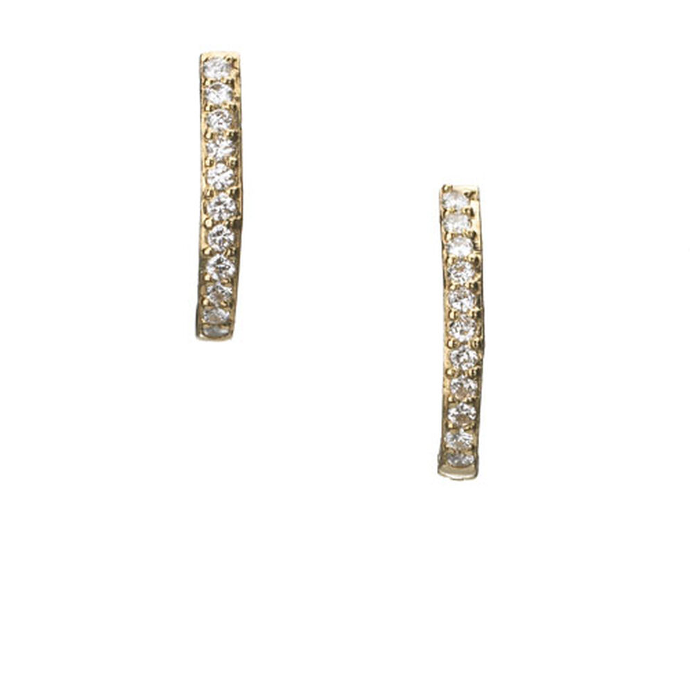 Watch Over Me 18kt Yellow Gold Diamond Hoop Earrings, , hires