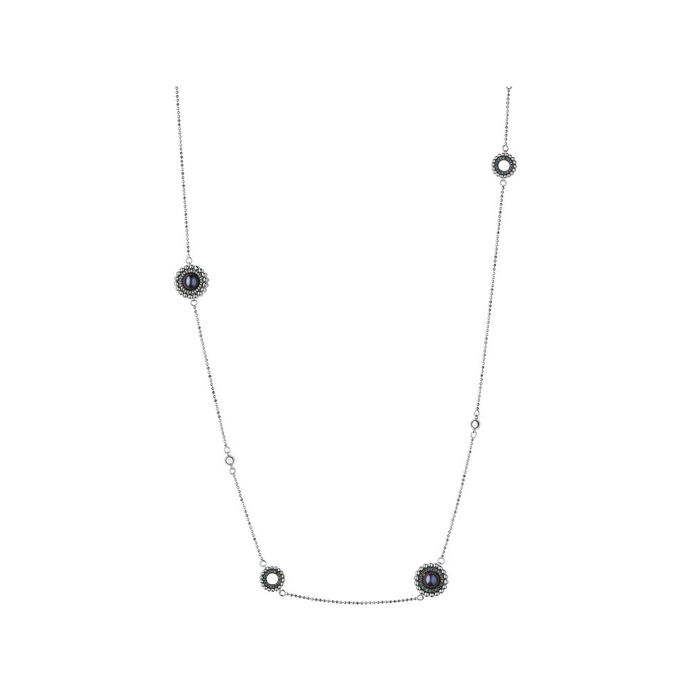 Effervescence Sterling Silver, Blue Diamond & Pearl Station Necklace, , hires