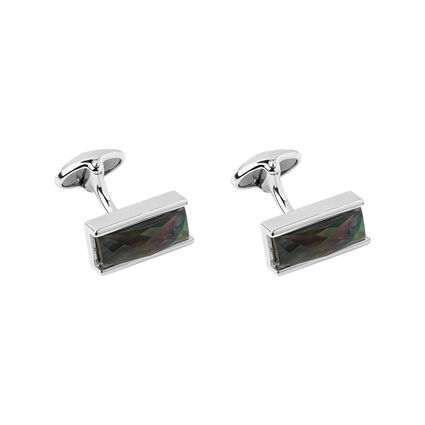 Black Mother of Pearl Doublet Cufflinks, , hires