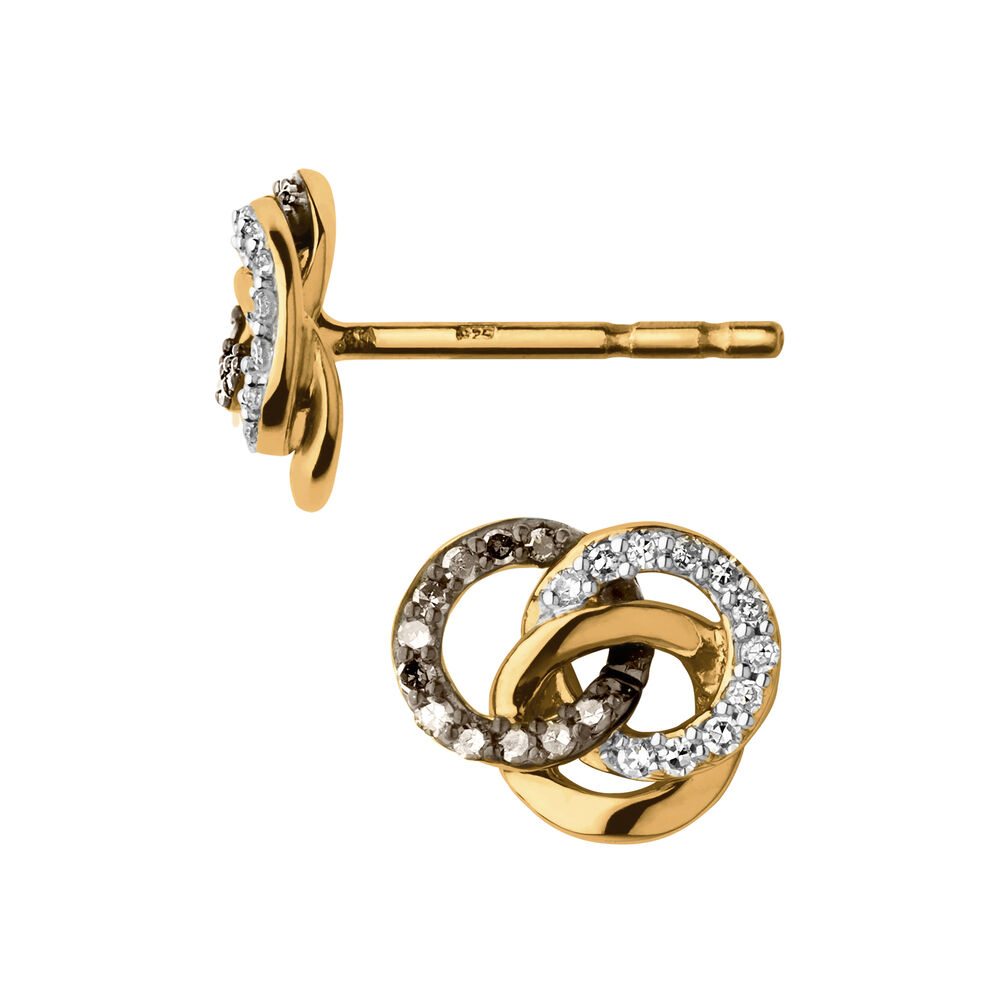 Treasured 18kt Yellow Gold Vermeil, Champagne & White Diamond Stud Earrings, , hires