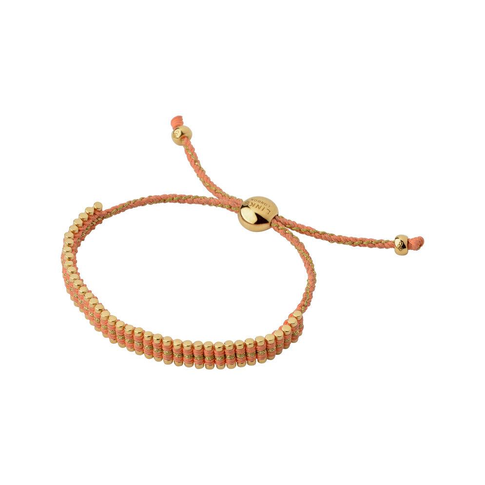 18kt Yellow Gold Vermeil & Coral Cord Mini Friendship Bracelet, , hires