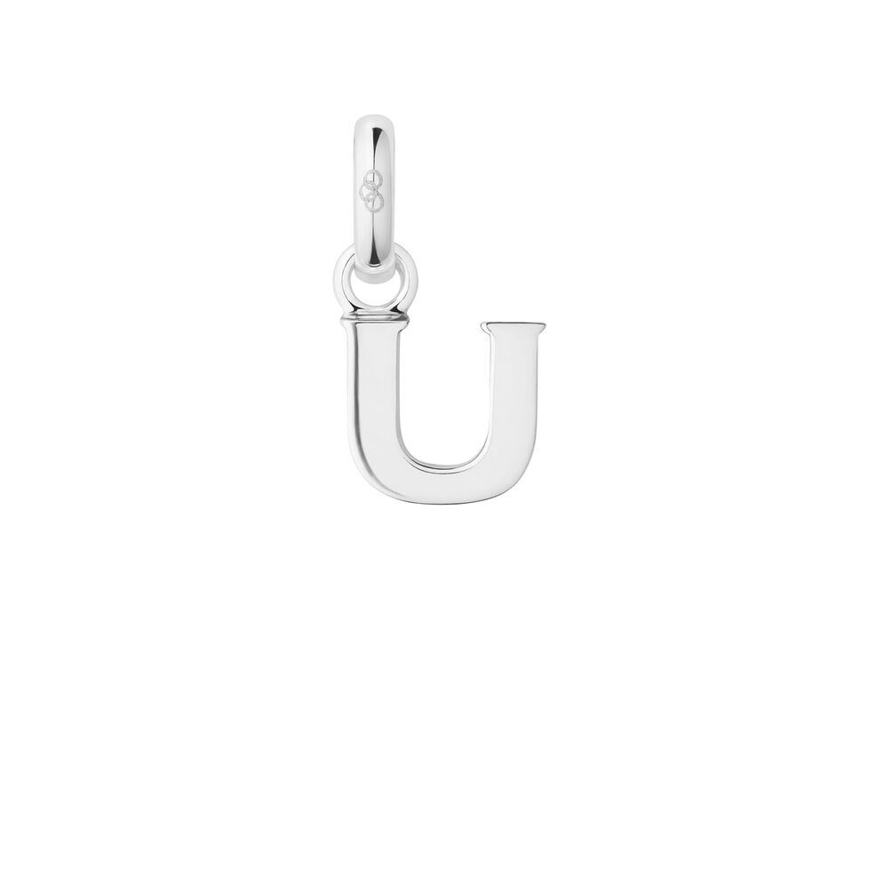 Sterling Silver U Charm, , hires