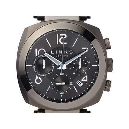 Brompton Mens Black Stainless Steel Chronograph Bracelet Watch, , hires