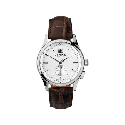 Regent Silver Dial Brown Strap Watch, , hires