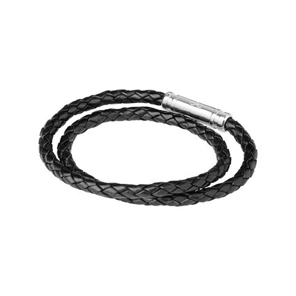 Venture Mens Black Leather Double Wrap Bracelet, , hires