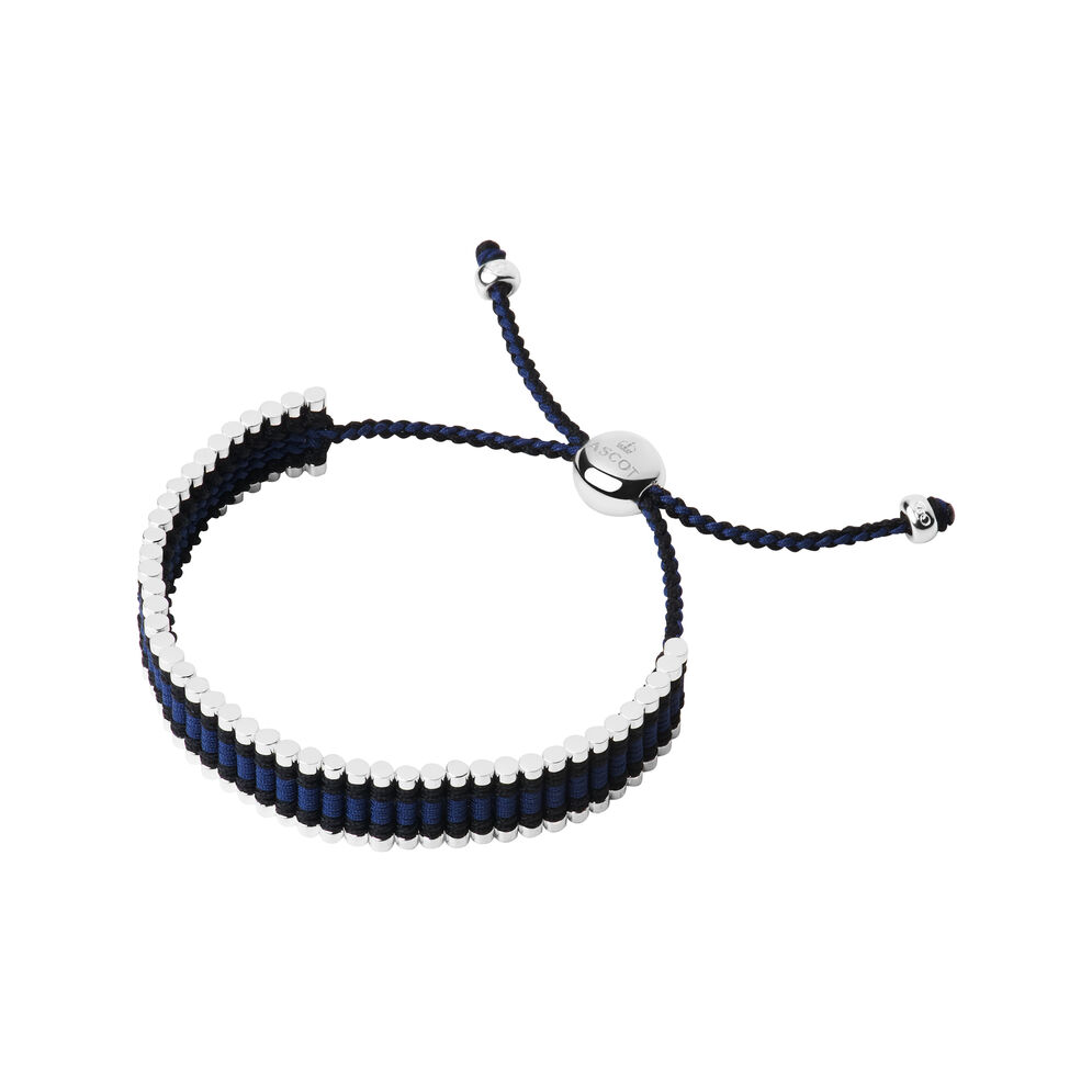 Ascot Sterling Silver, Blue & Black Cord Friendship Bracelet, , hires