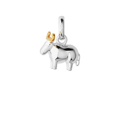 Sterling Silver & 18kt Yellow Gold Vermeil Chinese Zodiac Ox Charm, , hires