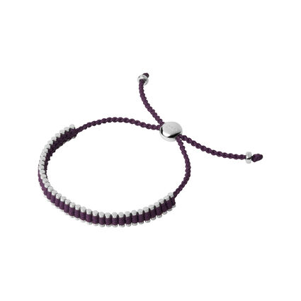 Sterling Silver & Plum Mini Friendship Bracelet, , hires