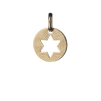 Star of David Gold Disc Charm, , hires