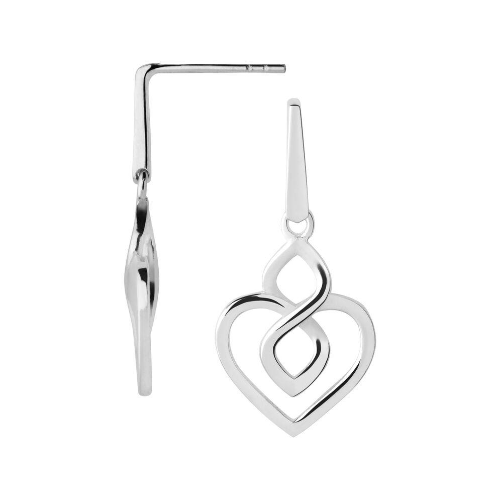 Infinite Love Sterling Silver Drop Heart Earrings, , hires