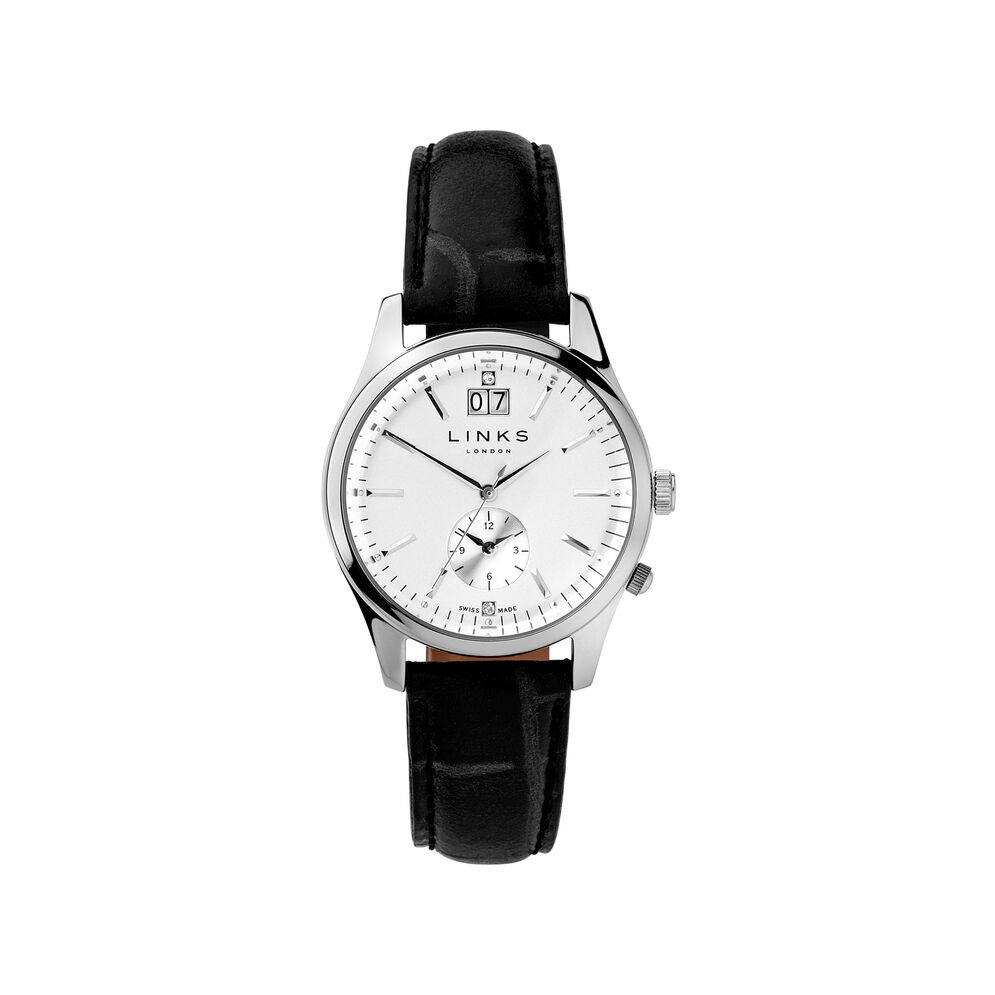 Regent Womens Stainless Steel & Black Leather Watch, , hires