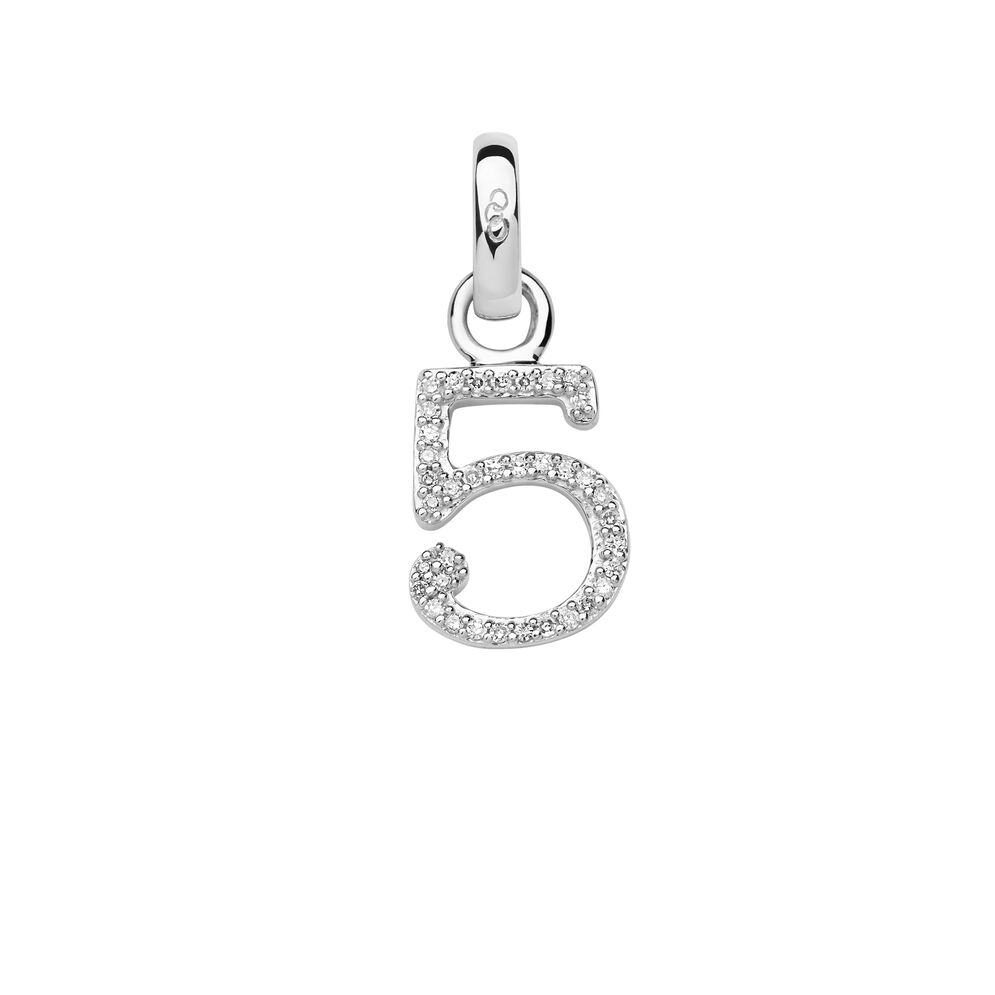 Sterling Silver & Diamond Number 5 Charm, , hires