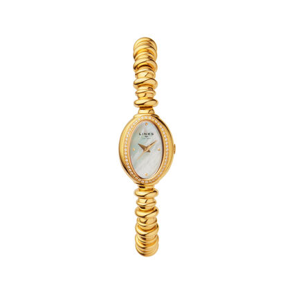 Sweetheart Gold Tone & White Topaz Watch, , hires