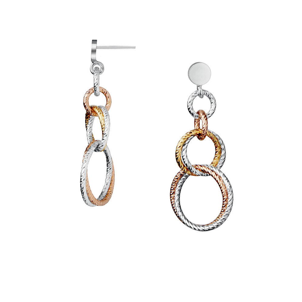Aurora Double Mixed Metal Link Earrings, , hires