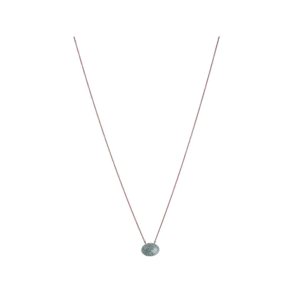 Concave 18kt Rose Gold Vermeil & Diamond Necklace, , hires