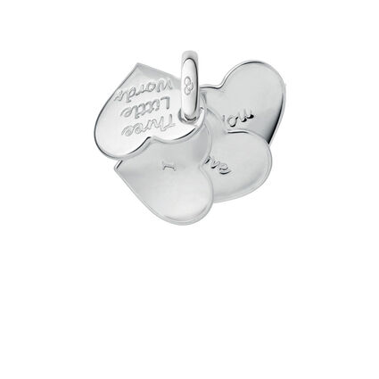 Sterling Silver Three Little Words Heart Fan Charm, , hires
