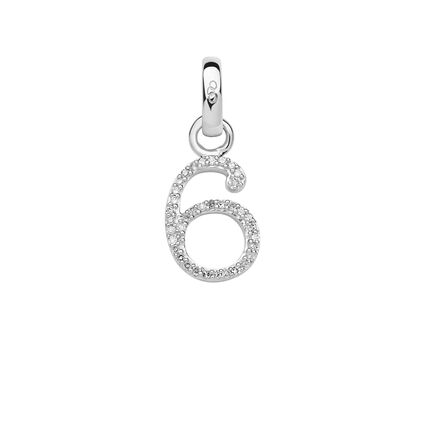 Sterling Silver & Diamond Number 6 Charm, , hires