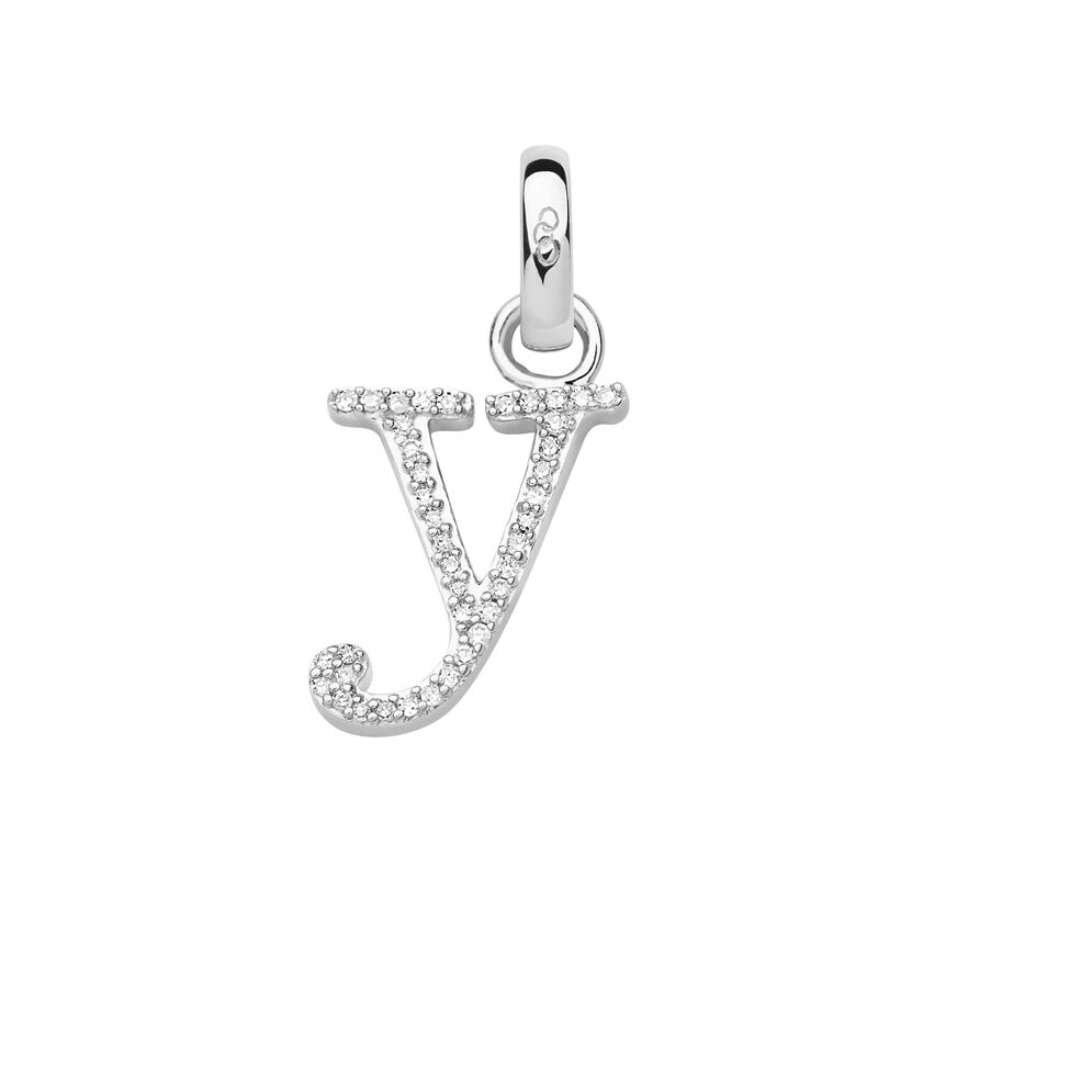 Sterling Silver & Diamond Y Alphabet Charm, , hires