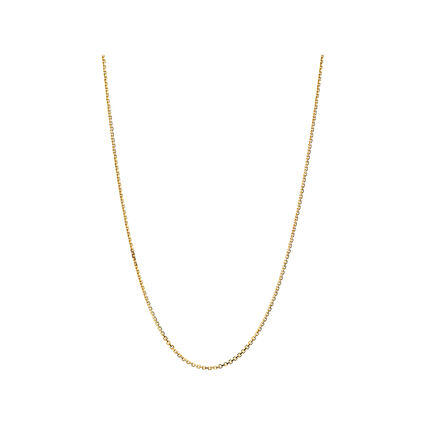 Essentials 18K Yellow Gold 1mm Cable Chain 45cm, , hires