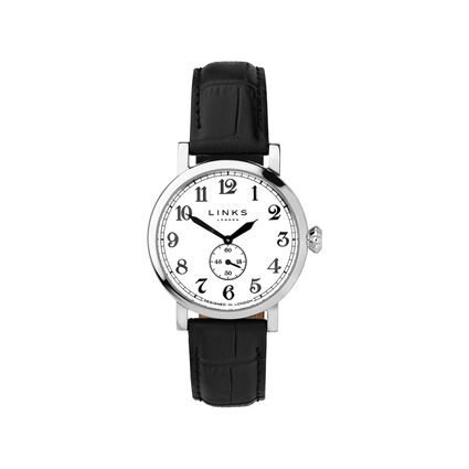 Greenwich Womens Stainless Steel & Black Leather Watch, , hires