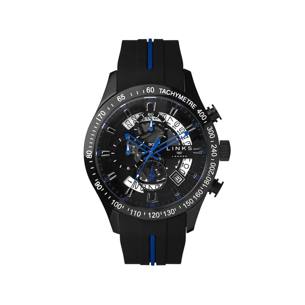 Skeleton Blue & Black Rubber Strap Chronograph Watch, , hires