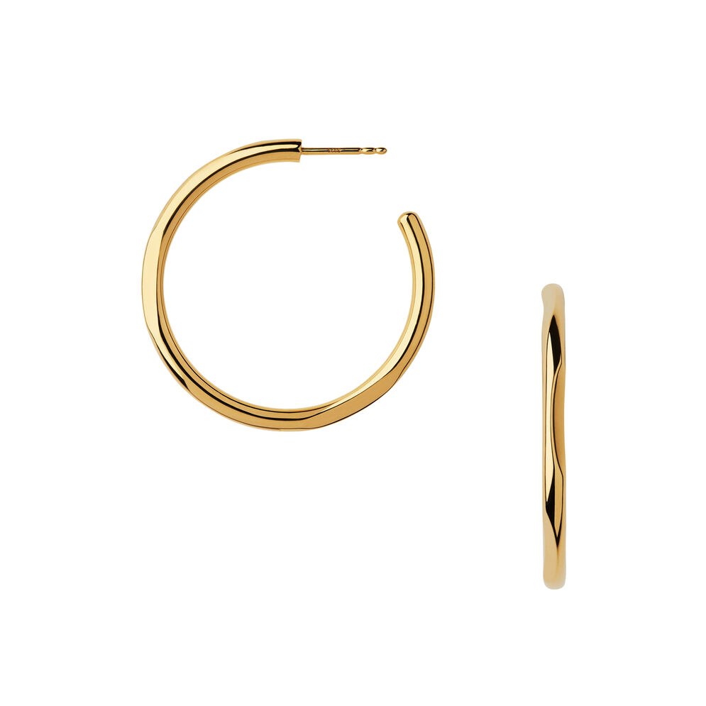 20/20 18kt Yellow Gold Hoop Earrings, , hires