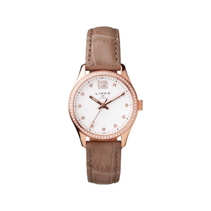 Greenwich Noon Womens Rose Gold Tone & Nude Leather Watch, , hires