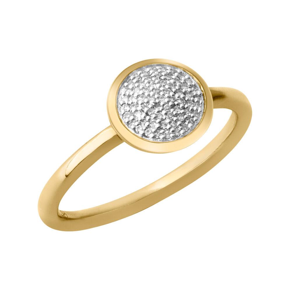 Diamond Essentials 18kt Yellow Gold Vermeil & Pave Round Ring, , hires